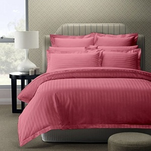 Peach Self Design 300 TC King Size Pure Cotton Satin Slumber Sheet for Double Bed with 2 pillow covers