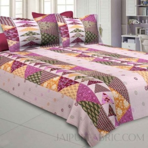 olive Twill Cotton  Double Bedsheet With Colorful Patchwork Design