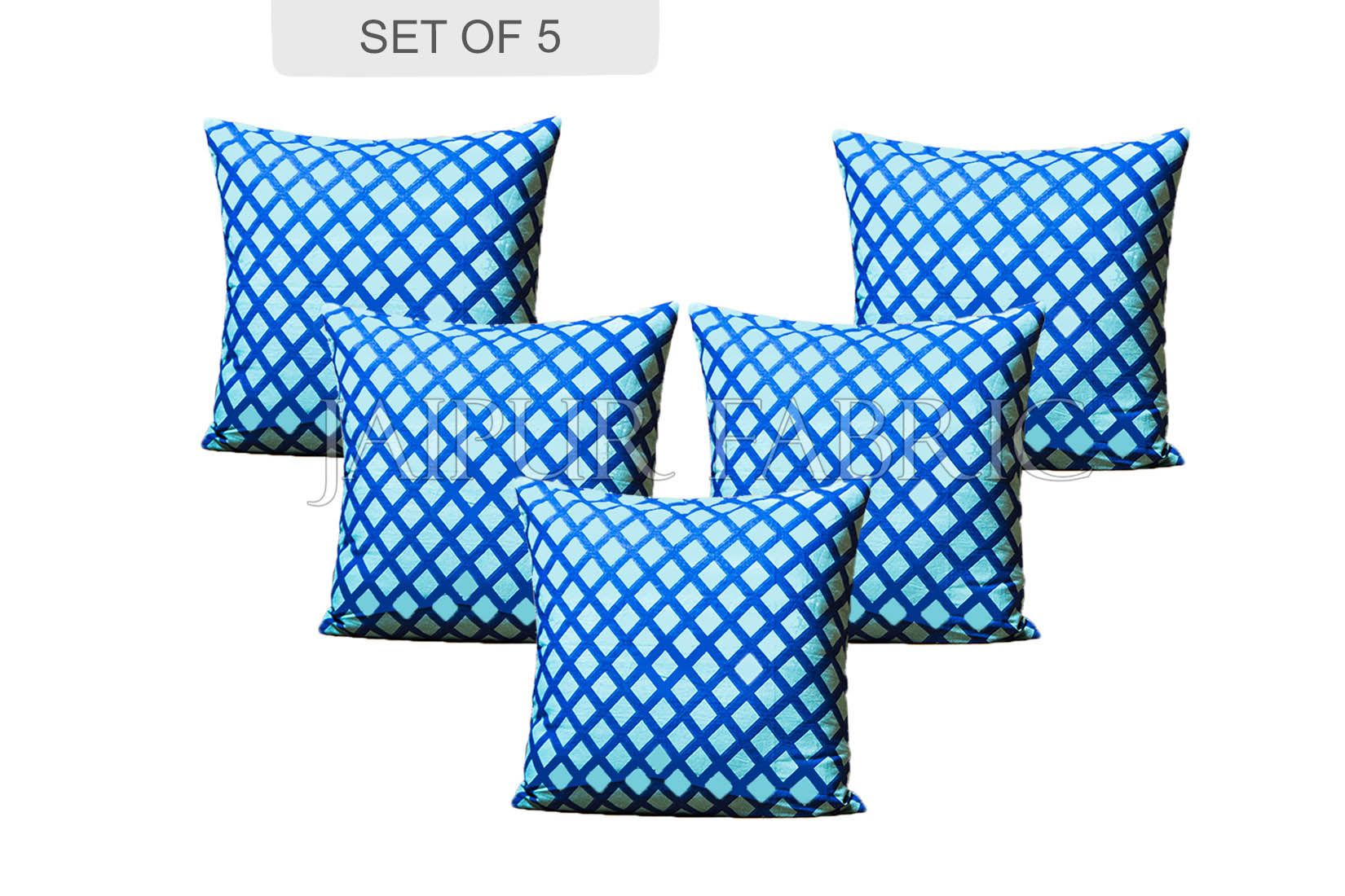 Bice Color Blue Square Print Cushion Cover