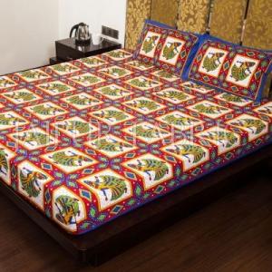 Blue Jaipuri Ghoomar Dance Print Cotton Double Bed Sheet