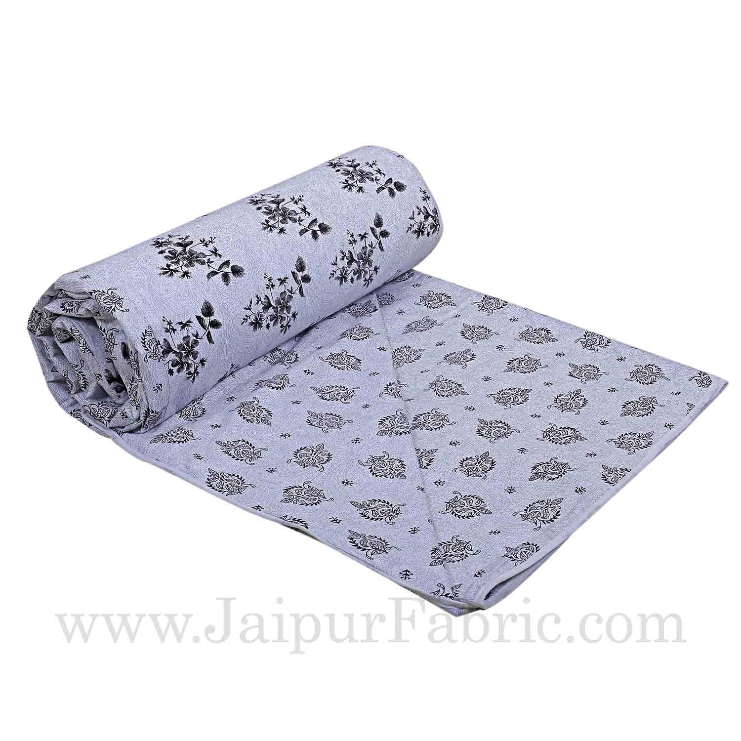 Cambric Cotton Double bed Reversible Dohar with pastel floral print