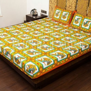 Orange Jaipuri Ghoomar Dance Print Cotton Double Bed Sheet