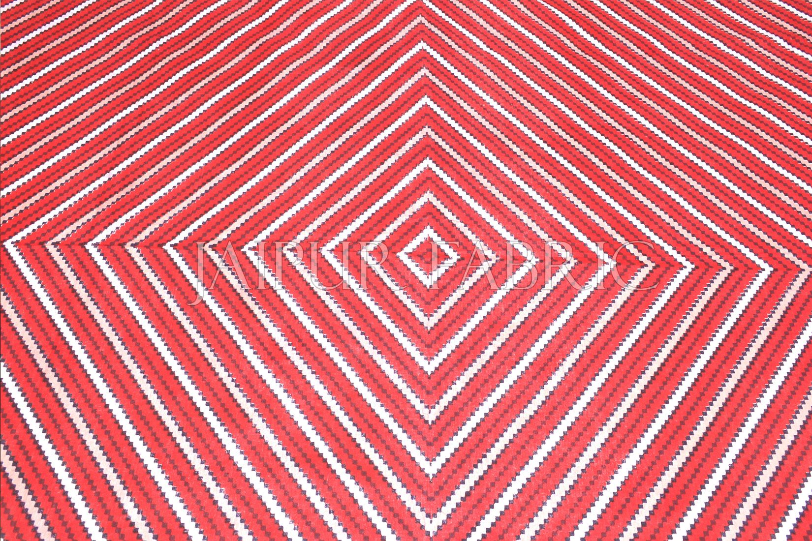 Red Zick Zack Print Double Bed Sheet