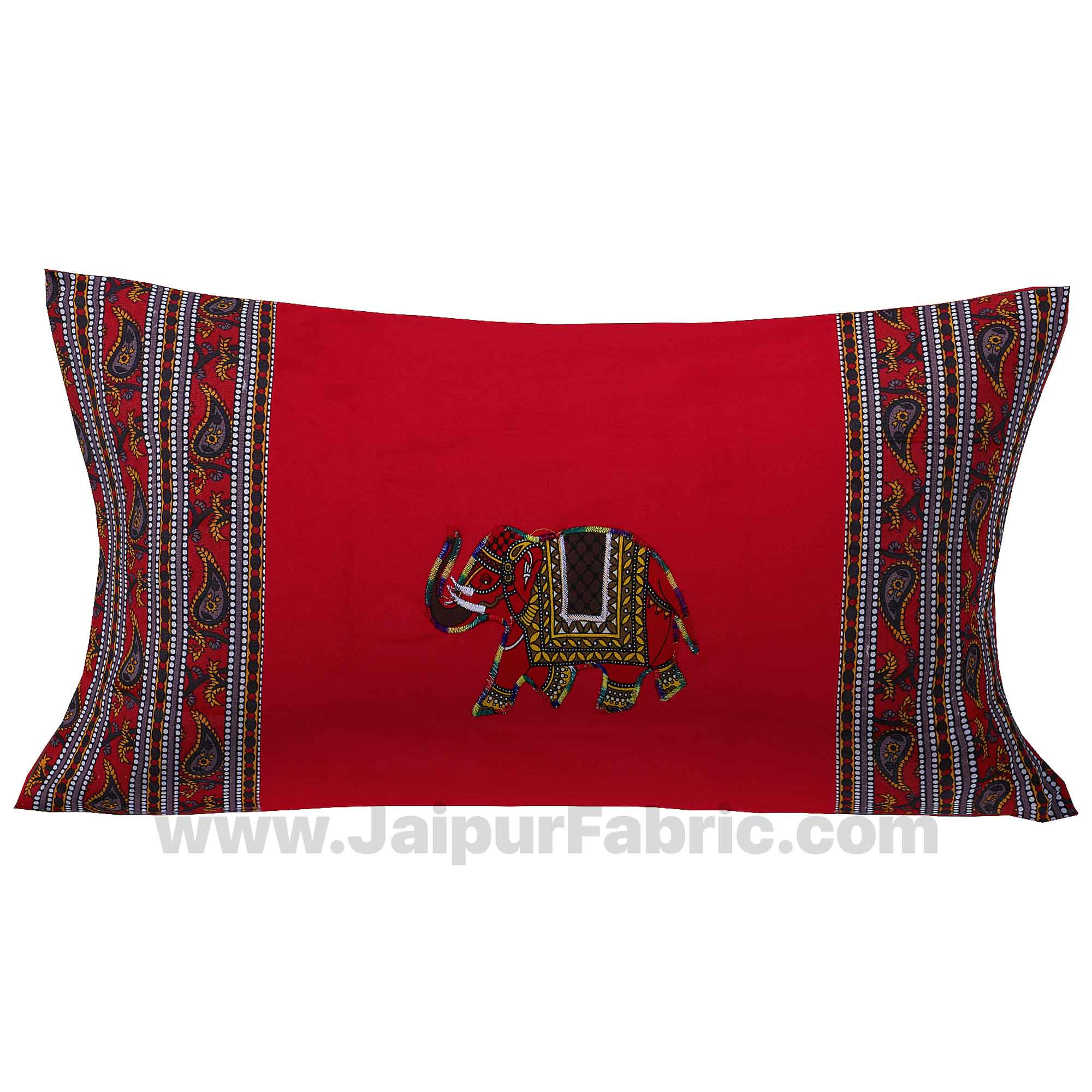 Applique Red Elephant Jaipuri  Hand Made Embroidery Patch Work Single Bedsheet