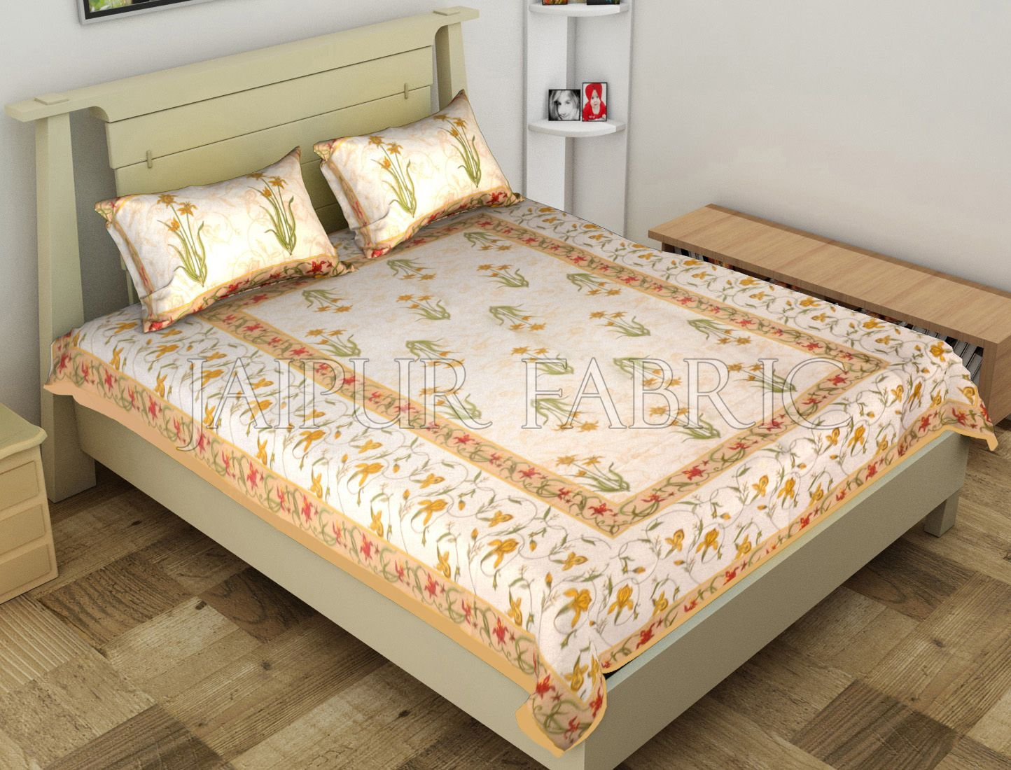 Beige Border Lotus Floral Printed Cotton Single Bed Sheet