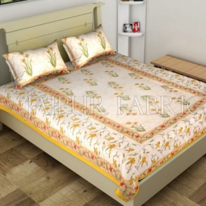 Yellow Border Lotus Floral Printed Cotton Single Bed Sheet