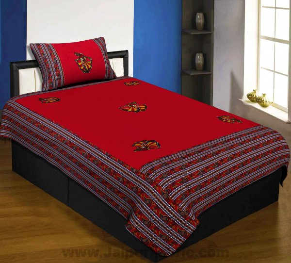 Applique Red Gujri Jaipuri  Hand Made Embroidery Patch Work Single Bedsheet