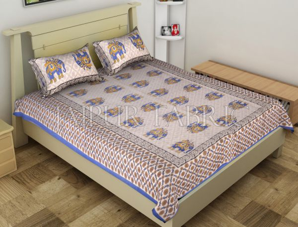 Blue Big Size Elephant Printed Cotton Single Bed Sheet
