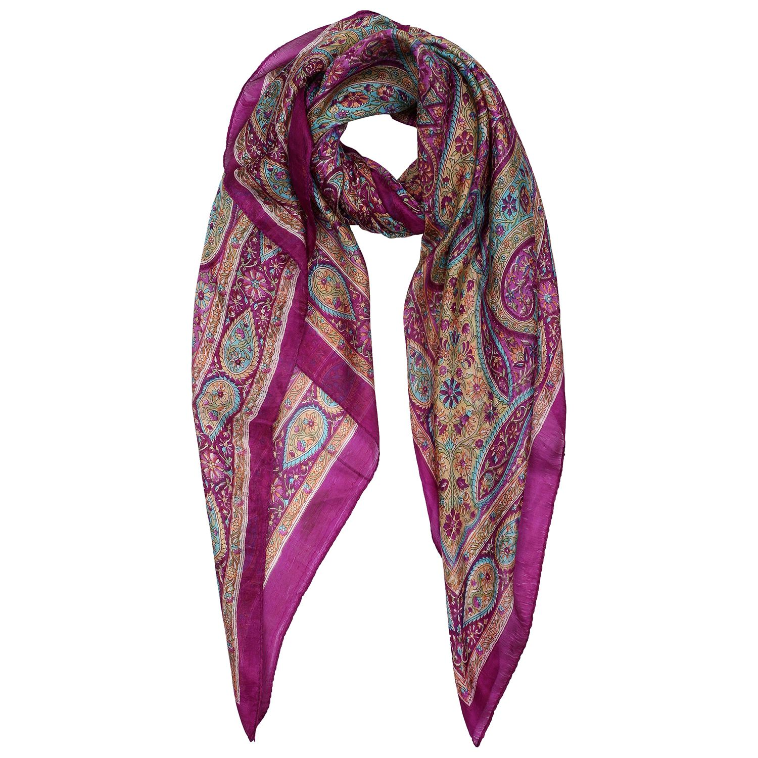 Silk Scarf Purple border with purple base paisley print