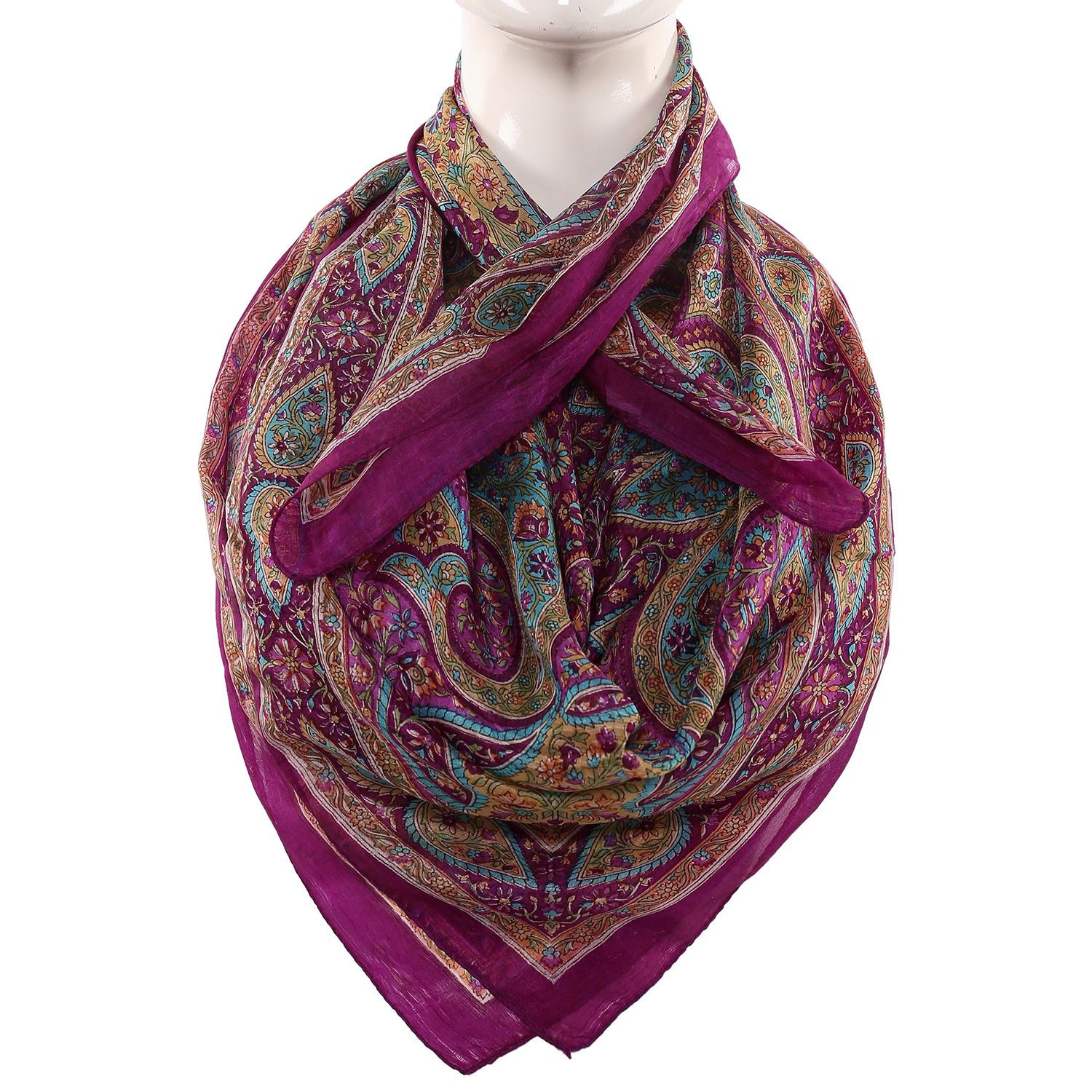 Silk Scarf  Purple Color Border Paisley Print