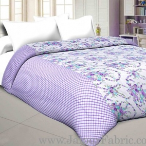 Cambric Cotton Double bed Reversible Dohar with seamless purple floral liana pattern