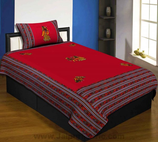 Applique Red Dandiya Jaipuri  Hand Made Embroidery Patch Work Single Bedsheet