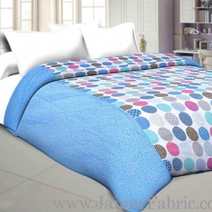 Cambric Cotton Double bed Reversible Dohar with Bright Blue Polka Dots