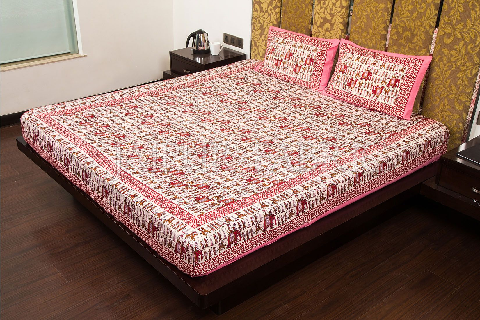 Pink Pastel Color Jaipuri Fat Wedding Print Cotton Double Bed Sheet