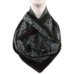 Silk Scarf Black Border Multi Boota Print