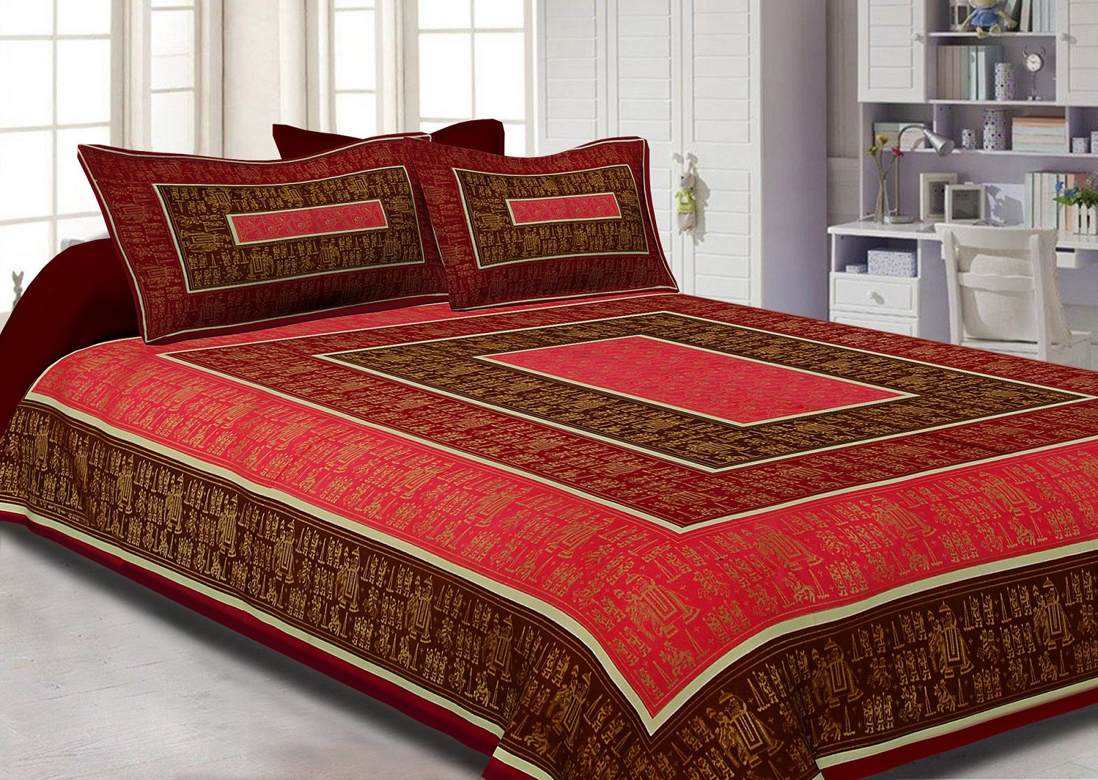 Maroon Border GoldeN Barat In Rectangle Pattern Super Fine Cotton Double Bedsheet