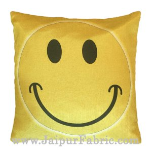 Jute Cushion Cover Digital Print Golden Smiley