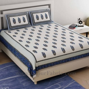Ethnic Block Print Blue Double Bedsheet