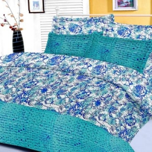 Cyan Floral Base Abstract Print Border King Size Cotton Bed Sheet