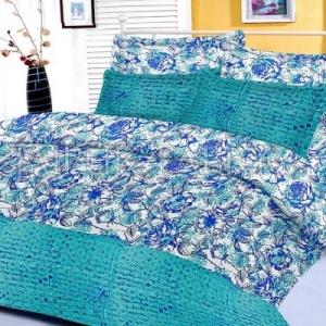 Cyan Floral Base Abstract Print Border King Size Cotton Bed Sheet