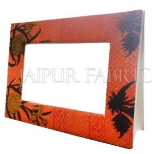 Orange Bandhani Print Fabric Photo Frame