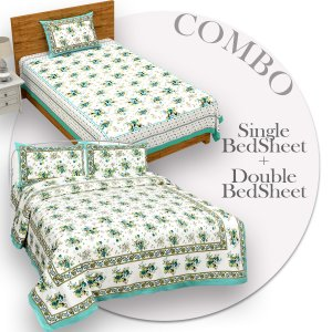 COMBO370 Beautiful Sea Green Colour Combo Set of 1 Single and 1 Double Bedsheet With 3 Pillow Cover