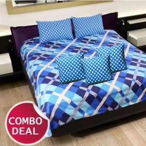 COMBO18 - Set Of Double Bed Sheet and 3 Cushion Covers