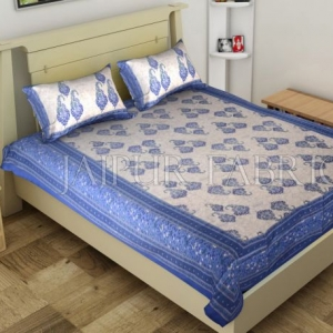 Blue Border Boteh Printed Cotton Single Bed Sheet