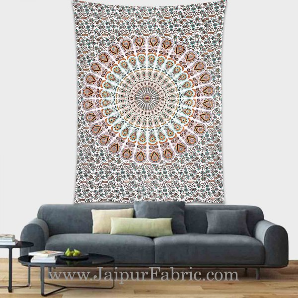 Multicolor Mandala tapestry wall hanging and beach throw