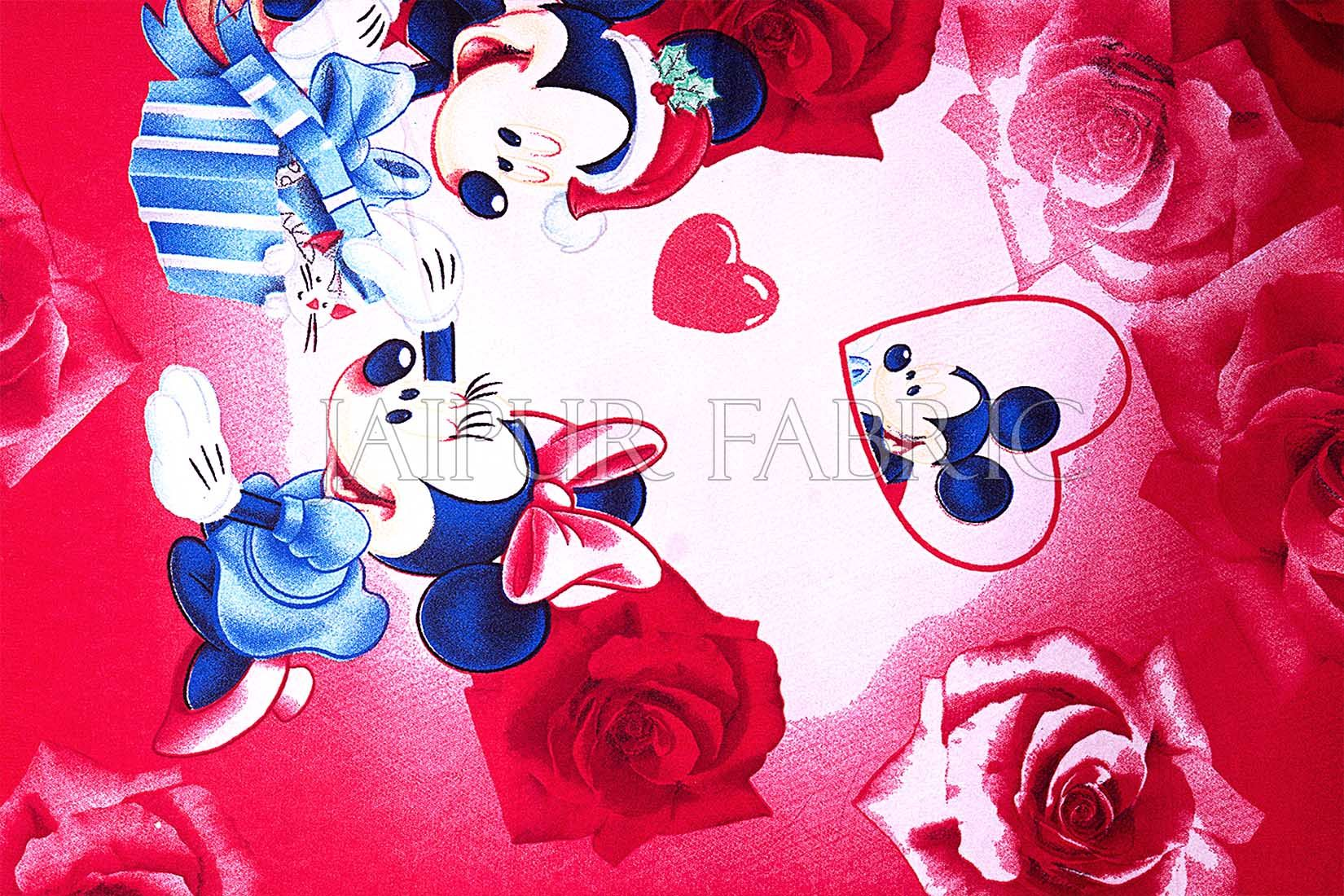 Red Base Mickey Mouse Cotton Double Bed Sheet