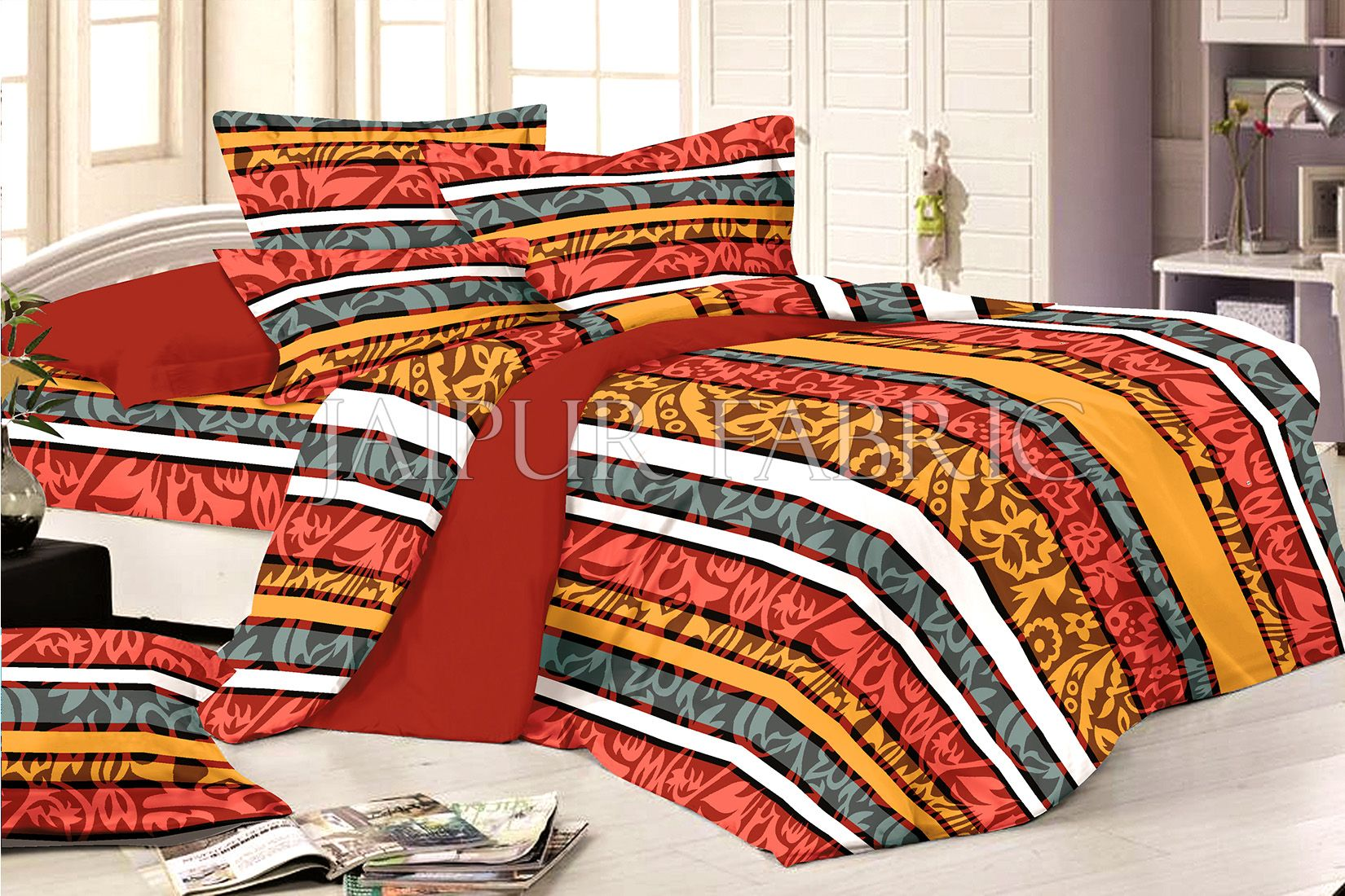 Tropical Multi Color Print Double Bed Sheet