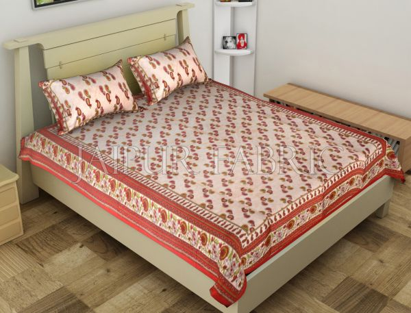 Red Anthemion Pattern Cotton Single Bed Sheet