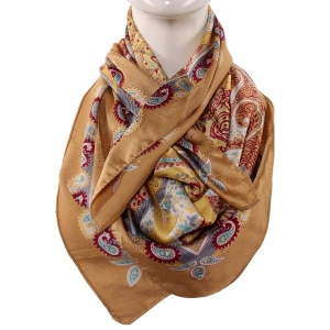 Silk Scarf Light Brown With  Big Boota Paisley Print