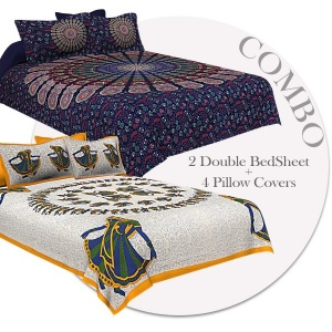 COMBO355 Beautiful Multicolor 2 Bedsheet + 4 Pillow Cover