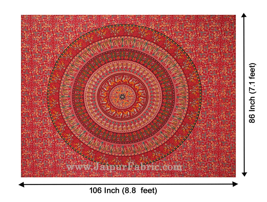 Ruby Red Mandala Bedsheet Tapestry Floral Print With 2 Pillow Covers