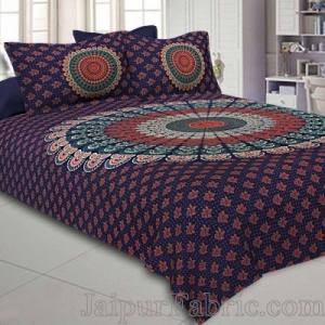 Indigo Blue Mandala Bedsheet Tapestry Floral Print With 2 Pillow Covers