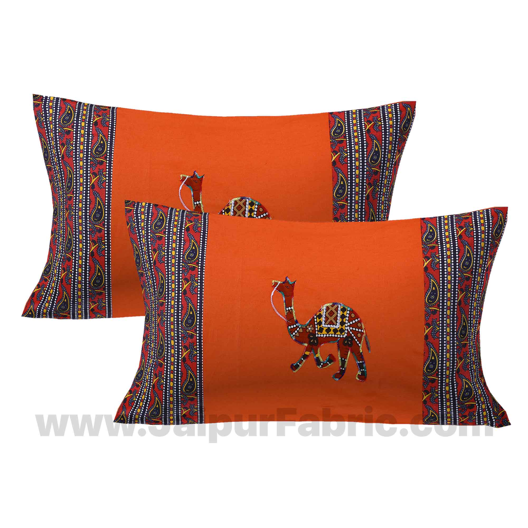 Applique Orange Camel Jaipuri  Hand Made Embroidery Patch Work Double Bedsheet