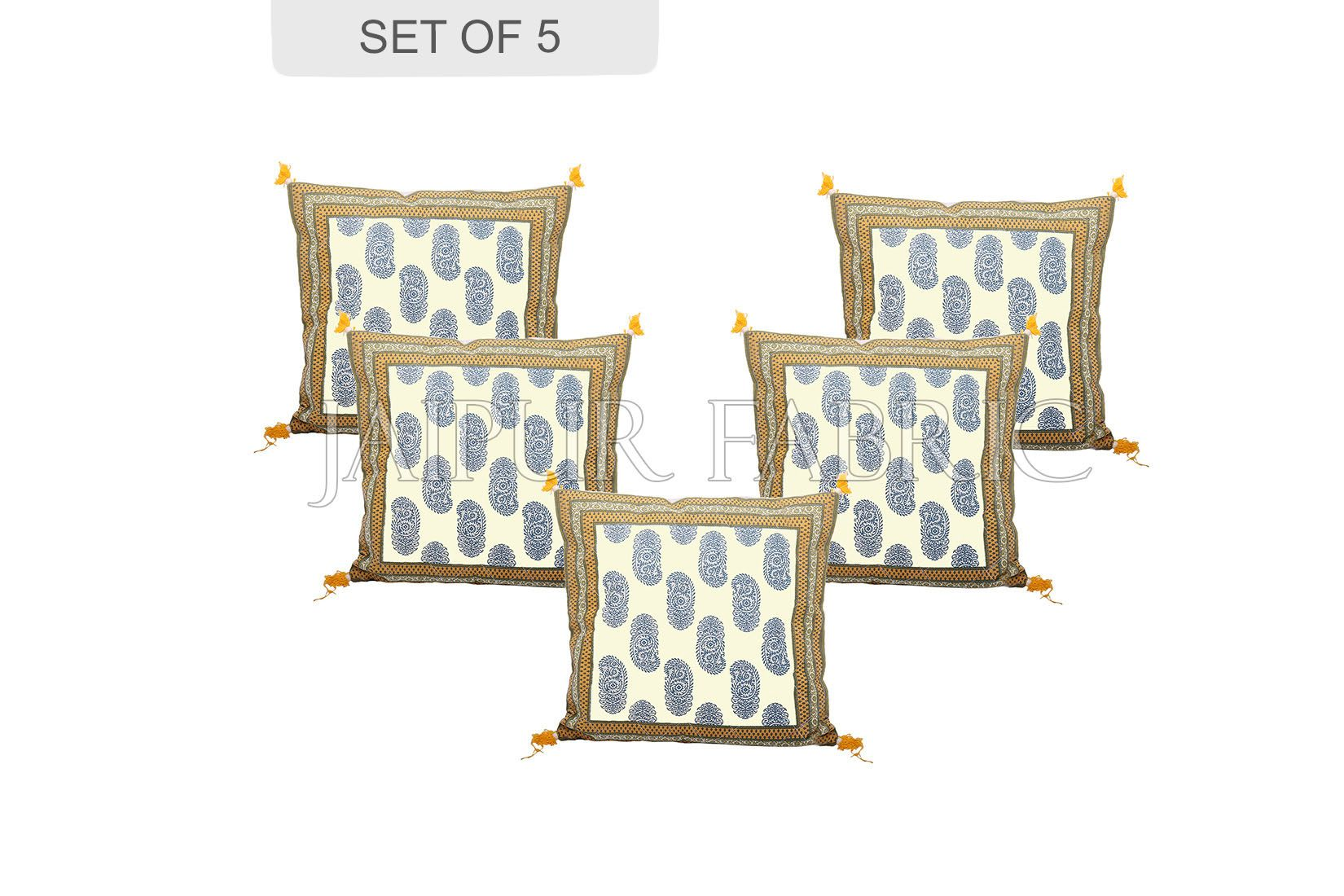 Olive Color Border Keri Block Print Cotton Cushion Cover