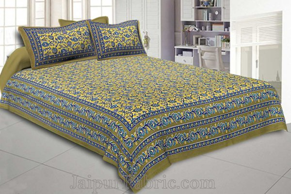 Double Bedsheet Olive Green Floral Bud Jaal Print With 2 Pillow Covers