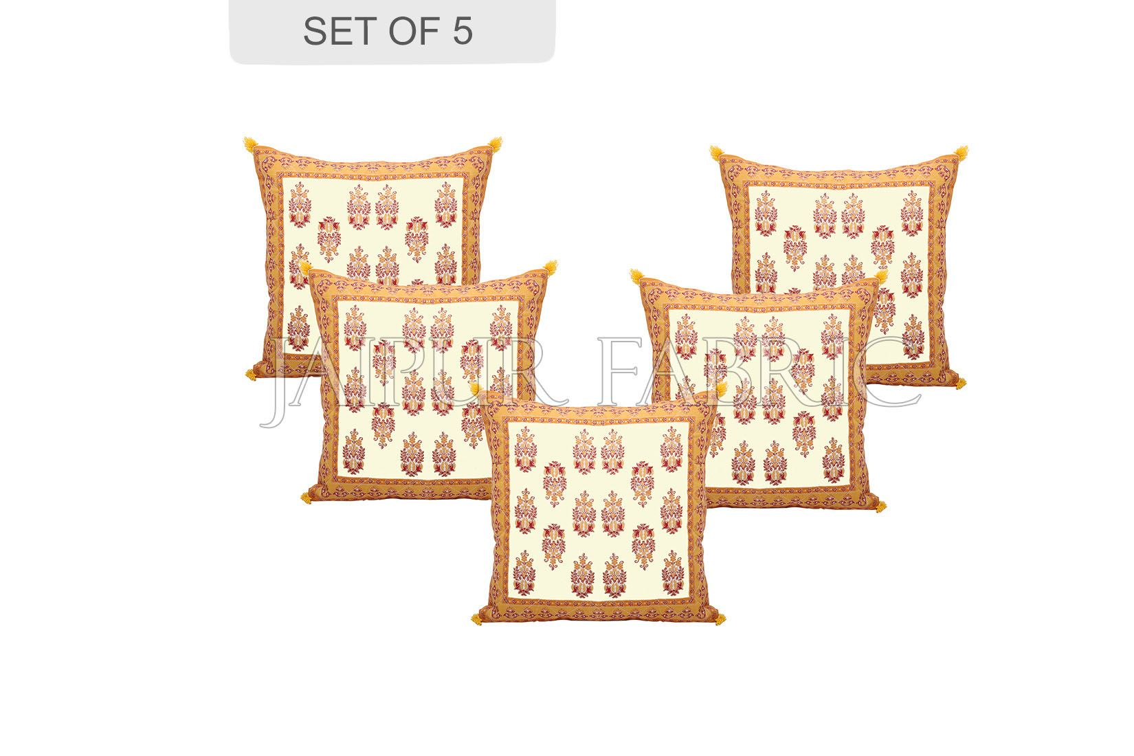 Cream Base with Yellow Border Rajasthani Kalash Design Cotton Cushion Cover