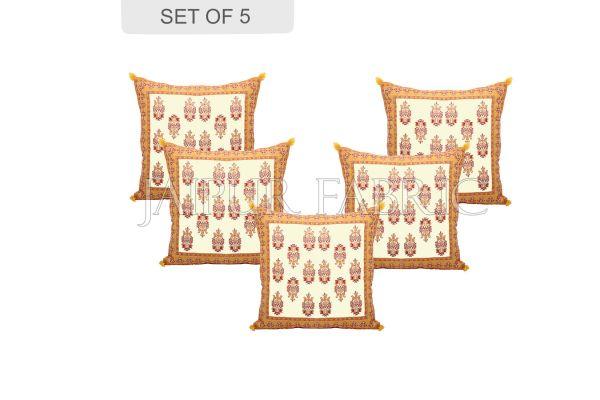 Cream Base with Yellow Border Rajasthani Kalash Design Cotton Cushion Cover