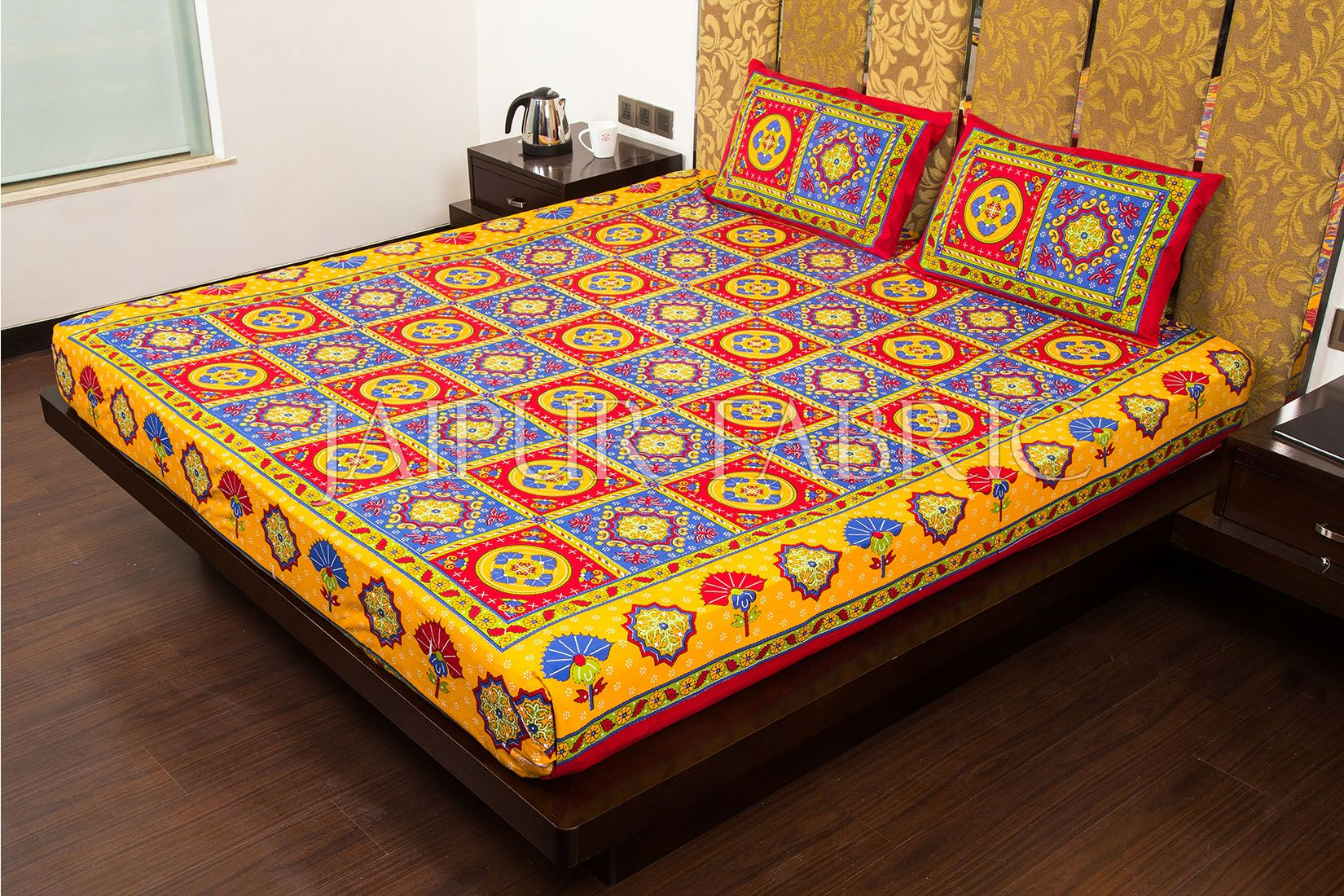 Maroon Royal Jaipuri Print Cotton Double Bed Sheet