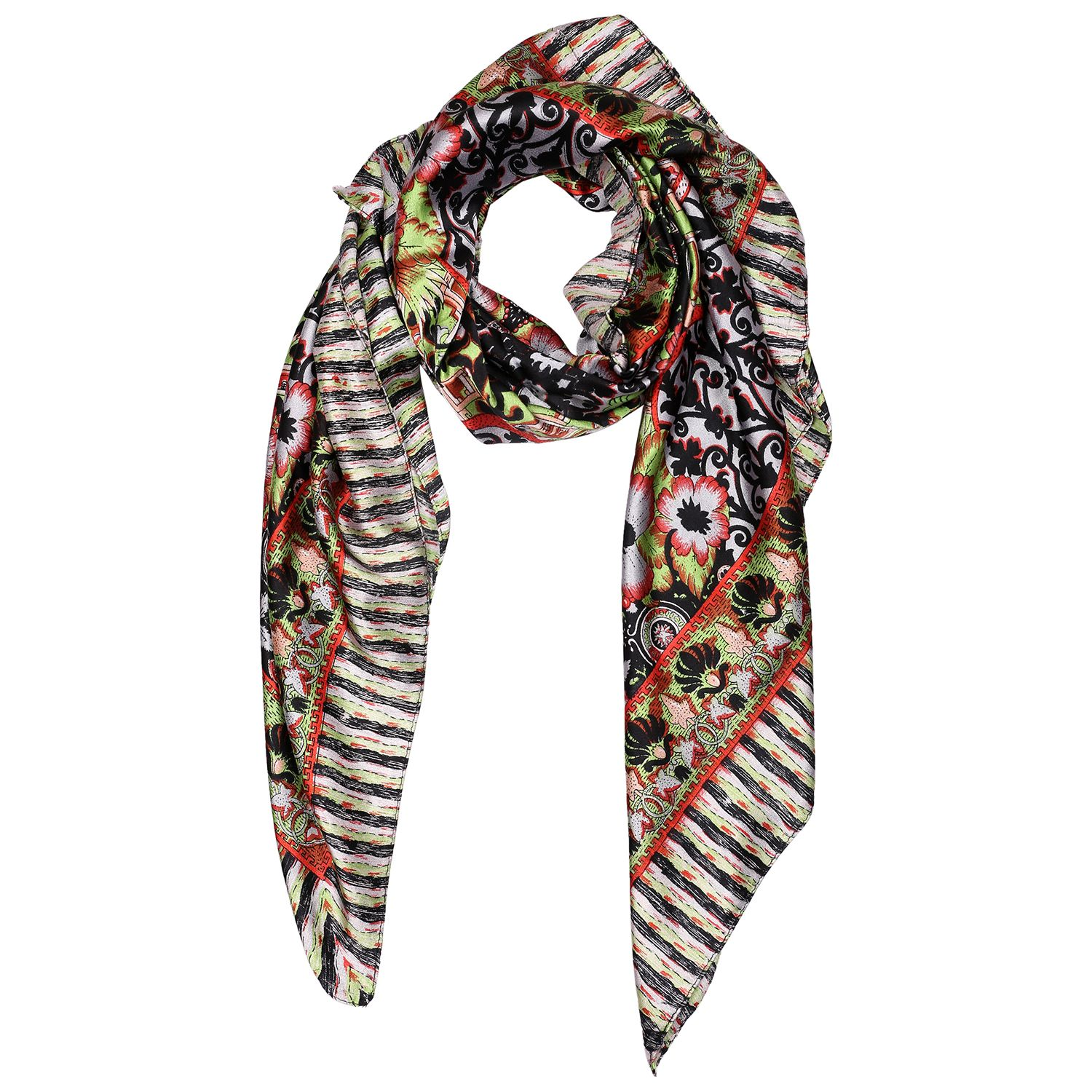 Silk Scarf Multi Color Border Floral Print