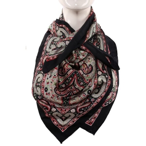 Silk Scarf Black Border Paisley Print With Big Boota