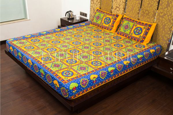 Yellow Royal Jaipuri Print Cotton Double Bed Sheet