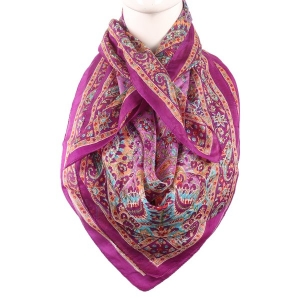Silk Scarf Dark Rani Color With Small Floral Print