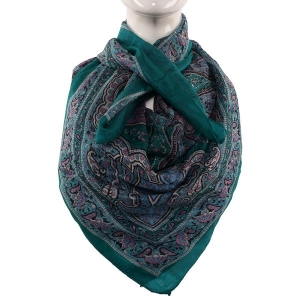 Silk Scarf Light Green Paisley Print