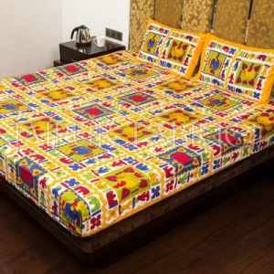 Yellow Border Multi Color Cotton Double Bed Sheet