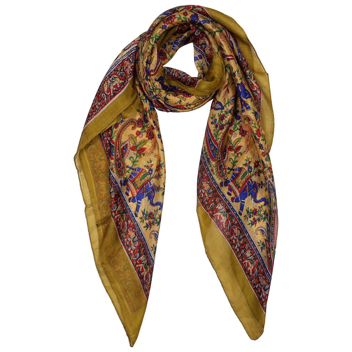 Silk Scarf Light Green Rural Print Elephant And Camel
