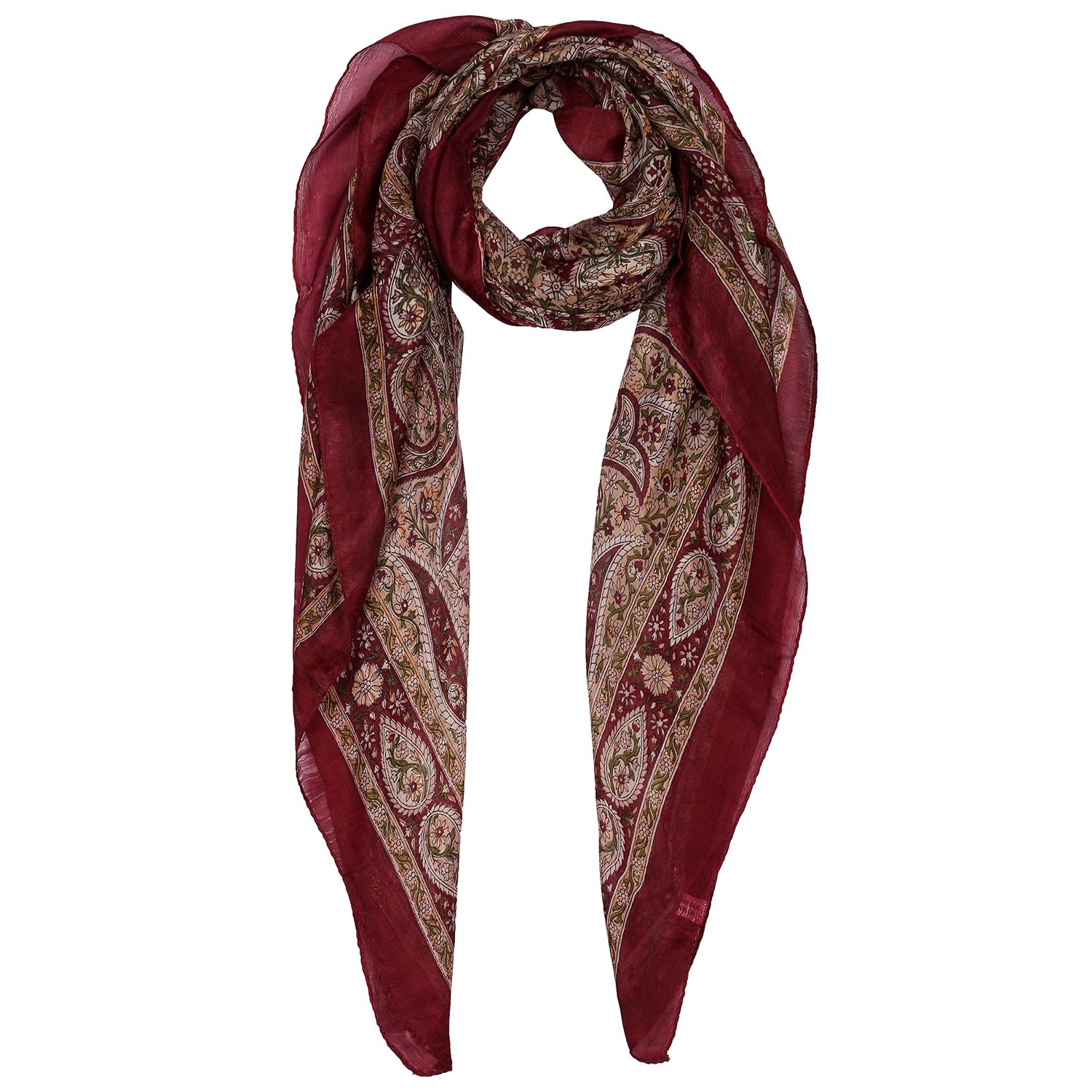 Silk Scarf Light Brown Paisley Print